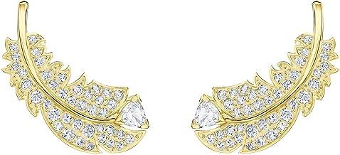 Pendientes de plumas chapados en oro con cristales Swarovski