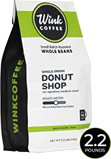 Wink Coffee Donut Shop - Medium Roast - 100% Arabica Whole Bean Coffee - Large 2.2 Pound Bag - Single Origin Colombian Andes - Balanced, Fresh and Complex, Sustainable Sourcing…
