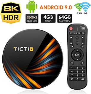 TICTID Android TV Box Android 9.0【4G+64G】 S905X3 Boitier Android TV Bluetooth 4.0,..