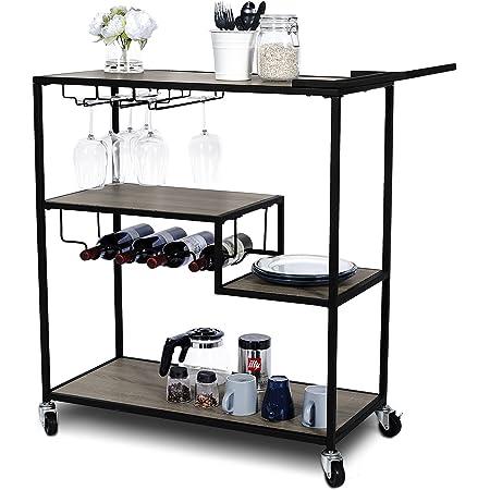 KATDANS Industrial Bar Cart-Home Bar Serving Carts - 4 Tier Storage Kitchen Cabinet - Rolling Serving Trolley with Wine Rack - Metal Frame - Weathered Oak, KS015