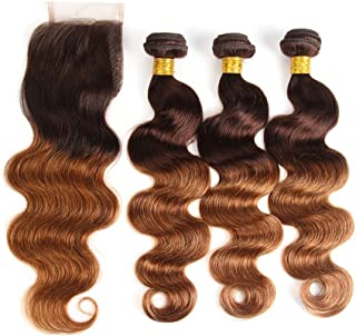 Fast Delivery Ombre Brazilian Hair Body Wave Ombre Bundles With Closure, 3 Ombre Hair Bundles With Lace Closure (T4/30,12 14 16+12)