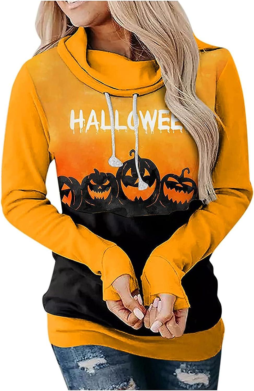 Women Long Sleeve Halloween Sweatshirt Ladies Autumn Daily Casual Blouse Stitching Printed Loose Tops