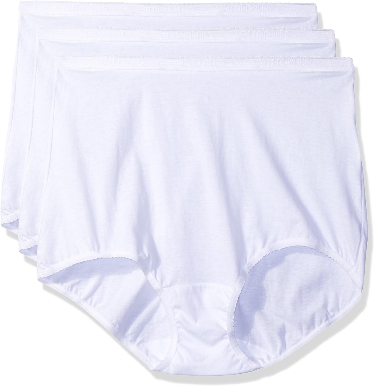Shadowline Women's Plus-Size Panties-Cotton Brief (3 Pack)