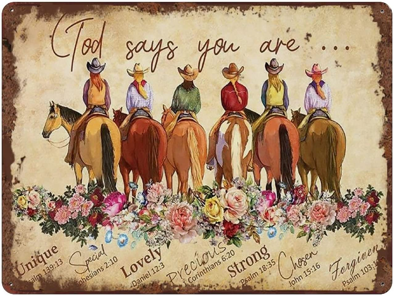 God Says You are Cowgirl Bible Verse Inspirational Vintage Tin Sign for Horse Lovers Cowgirl Christian Art Vintage Wall Decor 5.5x8 Inch