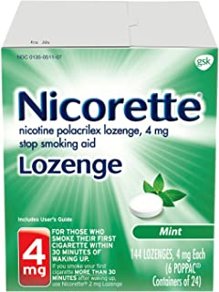 Nicorette Nicotine Lozenge to Quit Smoking, Mint Flavored Stop Smoking Aid, 4mg, 144 Count