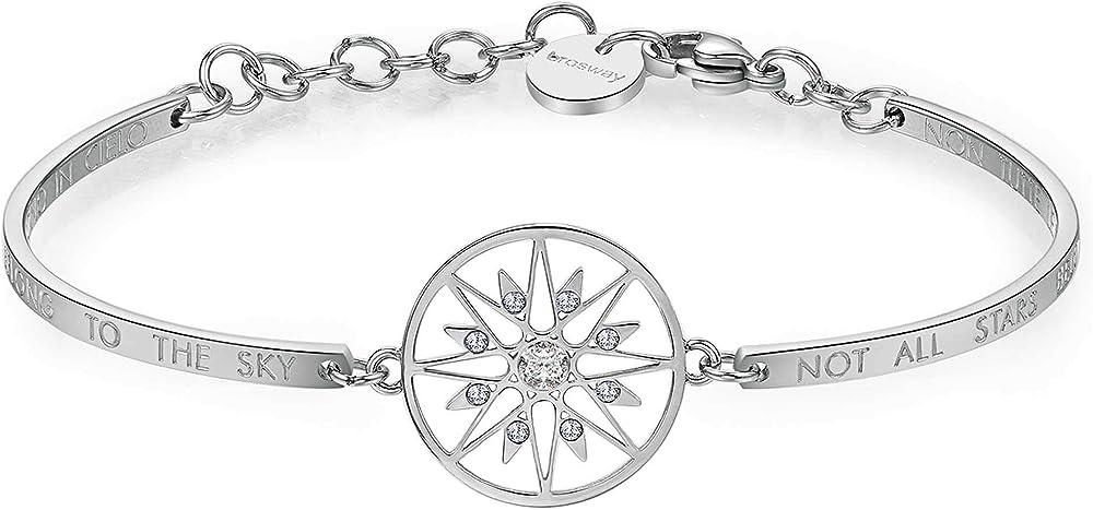 Brosway stella polare  bracciale chakra per donna in acciaio con stella, swarovski BHK264
