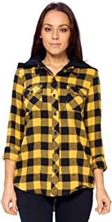 Ci Sono Women's Super Soft Long Sleeve Zip Up Button Down Plaid Shirt with Hoodie