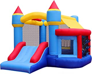 RETRO JUMP Inflatable Bouncer with Blower Kids Bounce House with Slides Bouncy Jumper House with Ball Pit & Basketball Hoop for Party Gift (122S)