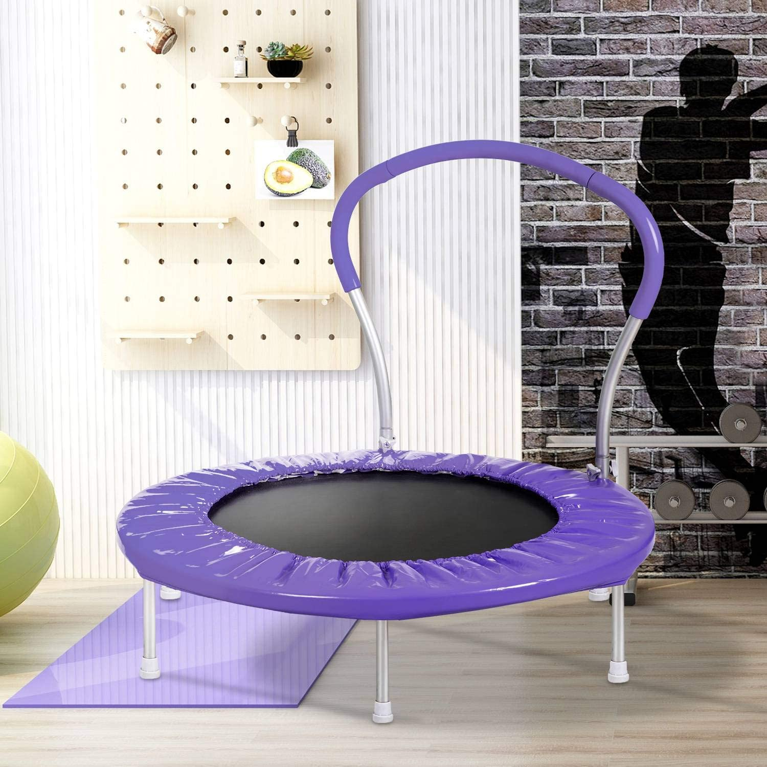 36'' Free Shipping Cheap Bargain Gift Trampoline with Handrail and Mini Cover Safety Detroit Mall Parent-Child