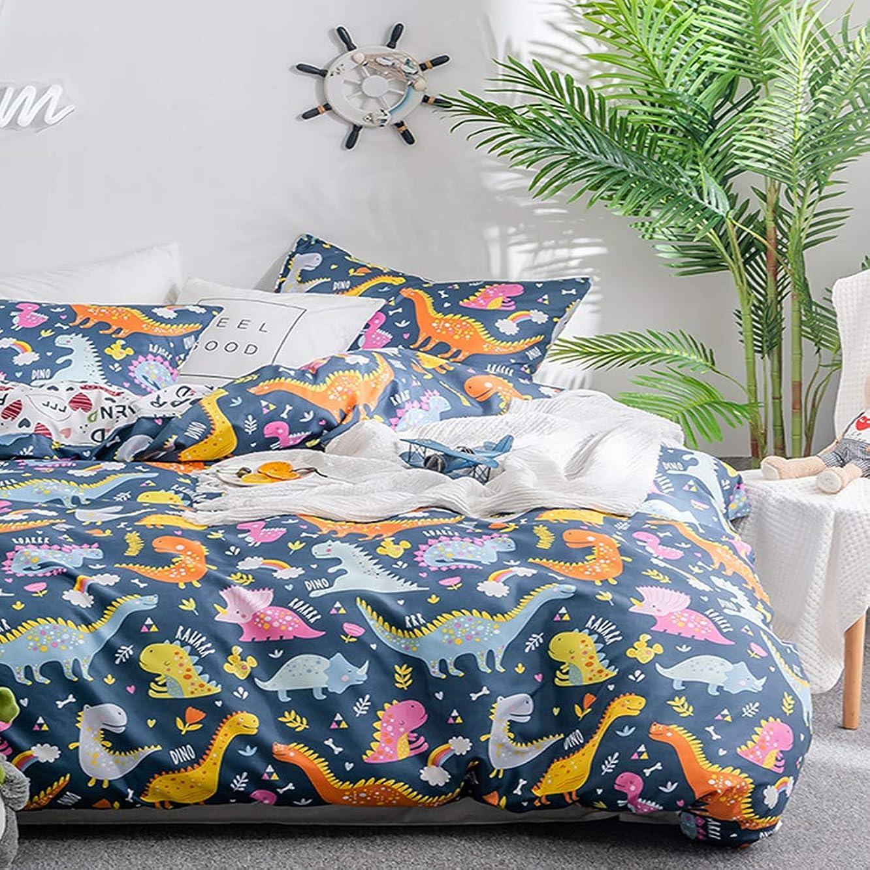 Fire Kirin Dinosaurs Pattern Duvet Cover Set Twin, 3PC Soft Kid Bedding Comforter Cover (1 Duvet Cover + 2 Pillowcases), Dinosaurs Quilt Cover for Boys and Girls(Queen/Blue