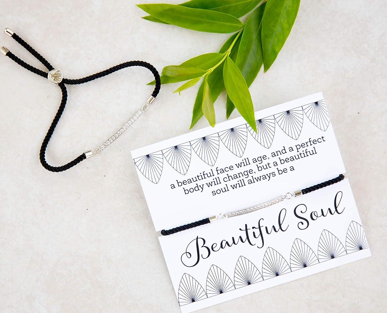 Bolo Silver-Plated Cubic Zirconia Crystal Bar Slide Bracelet Black Inspirational Gift