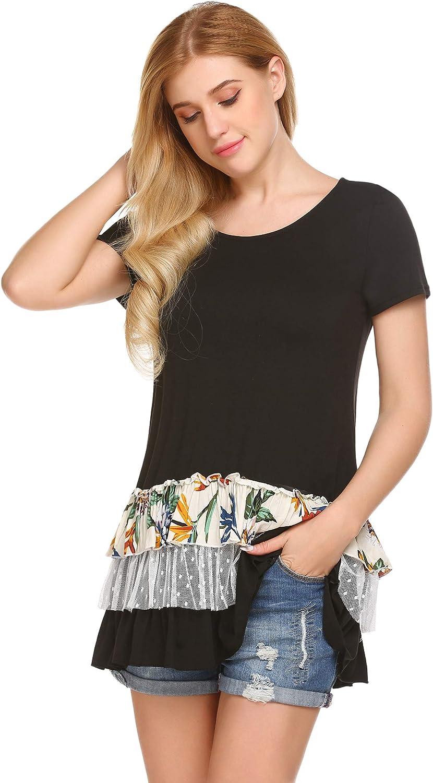 BEAUTEINE Women's Short Sleeve Ruffle Hem Tunic MultiLayers Flowy Shirts