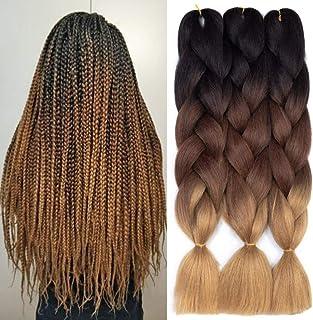 Ombre Kanekalon Braiding Hair 3 Pack Ombre Jumbo Braiding Hair Extensions موی مصنوعی 24 اینچ جامبو بافته برای بافتن (قهوه ای تیره-قهوه ای روشن)