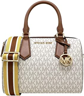 Michael Kors Small Hayes Duffle Crossbody Bag Vanilla/Luggage New 2019