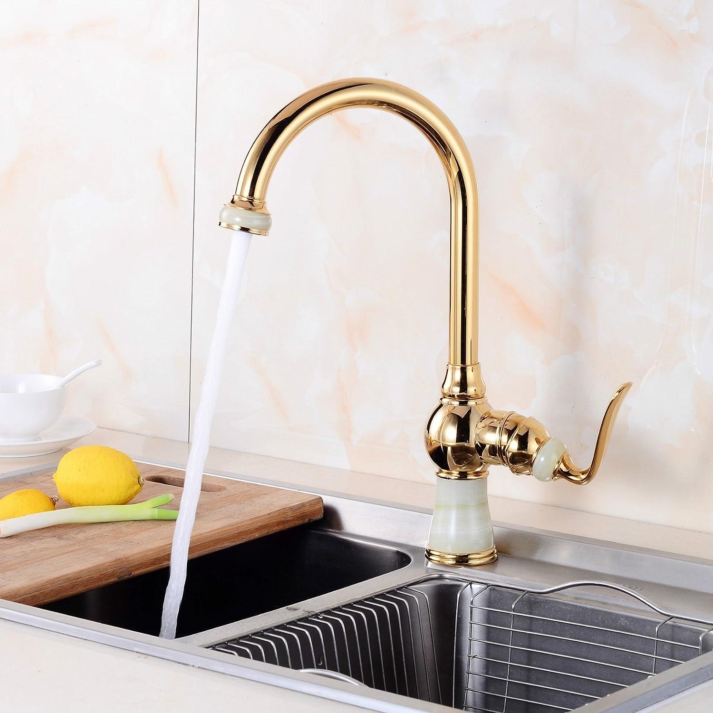 MIAORUI European all copper jade water faucet bathroom luxury single hole cold and hot faucet bathroom basin faucet