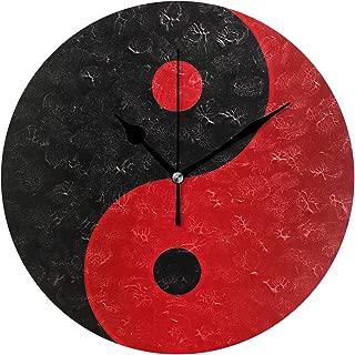 MIKA 掛け時計 置時計 掛け置き両用 壁掛け 時計 音がしない 掛置兼用 連続秒針 おしゃれ プレゼント 結婚祝い 内祝い 誕生日 新築祝い 赤 黒 陰陽