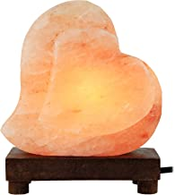 Greenco Heart Shaped Hand Carved Natural Himalayan Salt Lamp On A Wooden Base with Electric Wire, Dimmer Control & Bulb.