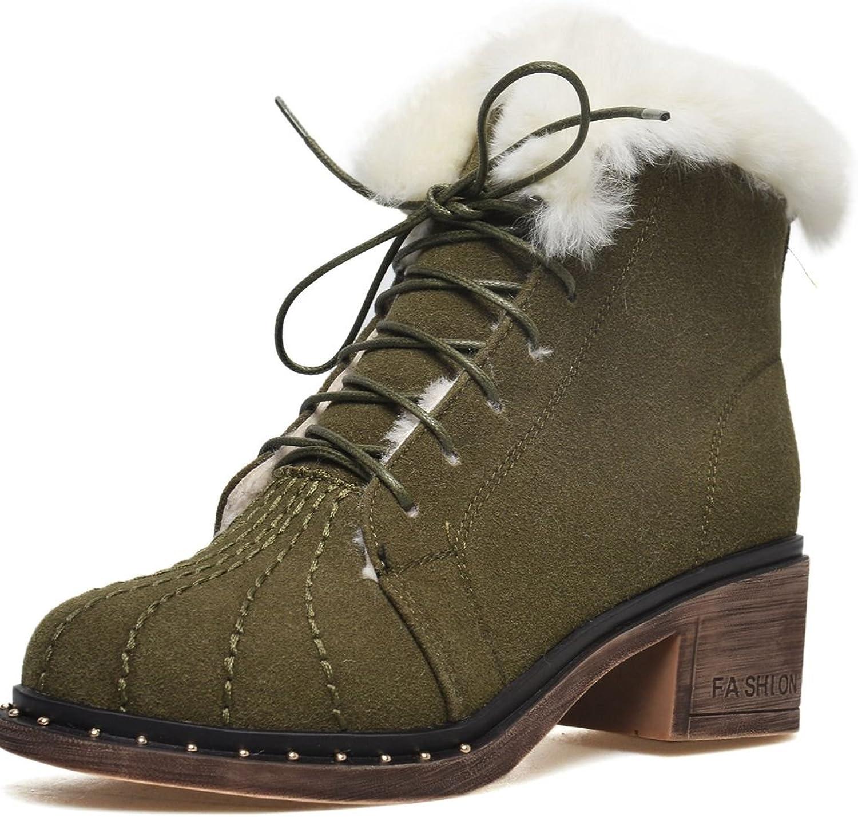DoraTasia Lace up Genuine Leather Nubuck Women's Fashion Ankle High Boots
