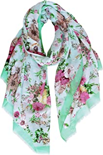 GERINLY Peony Blossoming Lightweight Scarf Womens Florals Shawls