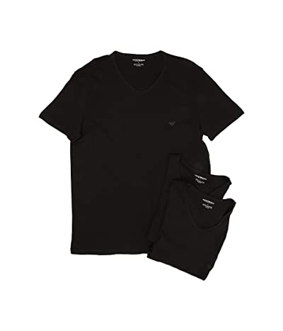 Emporio Armani 3-Pack V-Neck T-Shirt (Black/Black/Black) Men