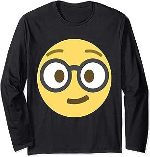 Emoji Geek Nerd Dorky Geeking Out Glasses Emoticon Texting Long Sleeve T-Shirt