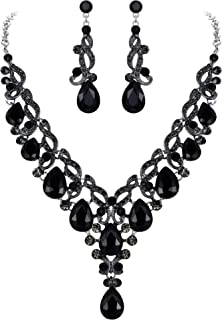 EVER FAITH Women's Rhinestone Crystal Elegant Bridal Wedding Floral Vine Teardrop Necklace Earrings Set