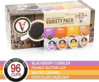 Peanut Butter Cup, Salted Caramel, Blackberry Cobbler, and Chocolate Hazelnut Variety Pack for for K-Cup Keurig 2.0 Brewers, 96 Count, Victor Allen's Coffee Single Serve Coffee Pods