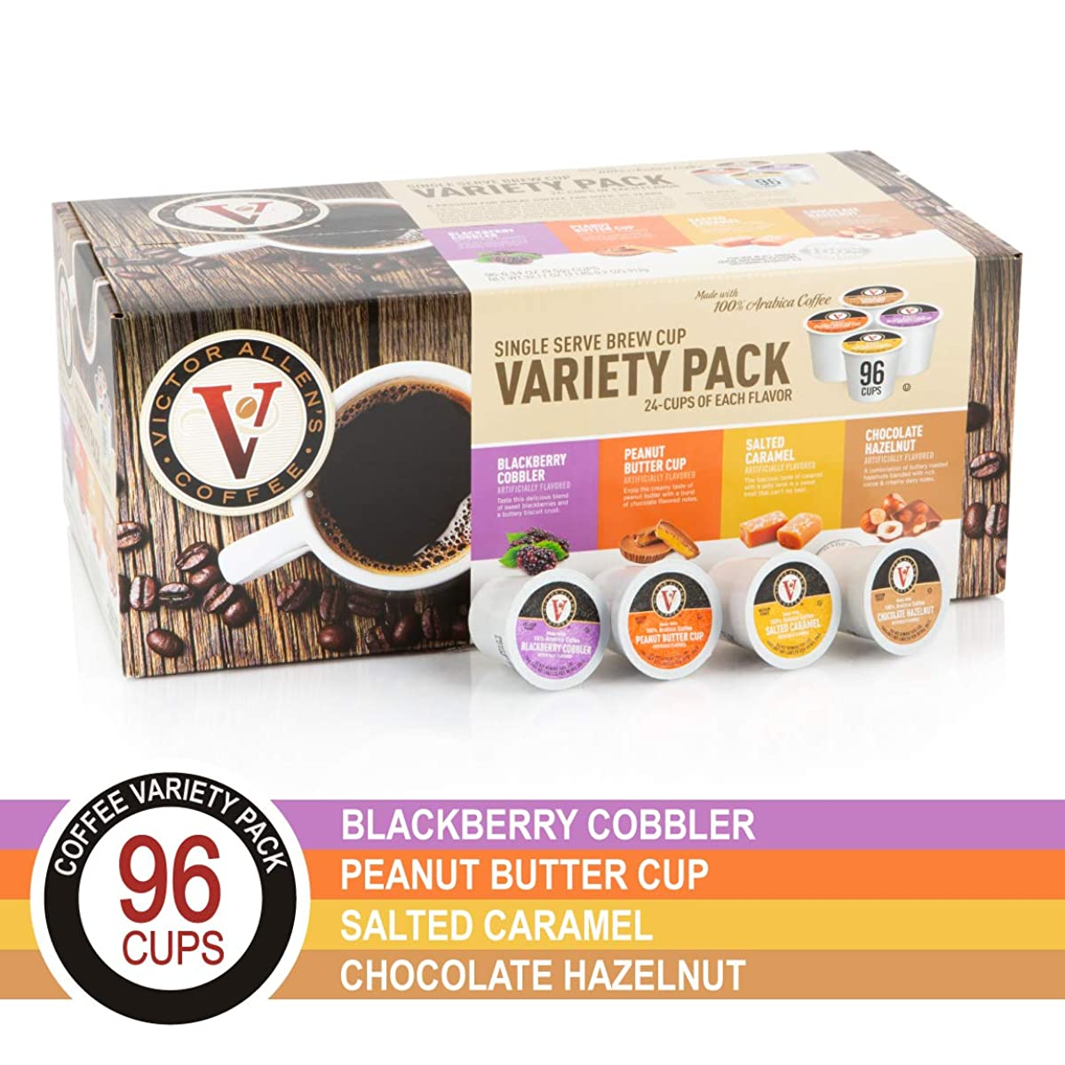 Peanut Butter Cup, Salted Caramel, Blackberry Cobbler, and Chocolate Hazelnut Variety Pack for K-Cup, Keurig 2.0 Brewers, 96 Count Victor Allen's Coffee Single Serve Coffee Pods