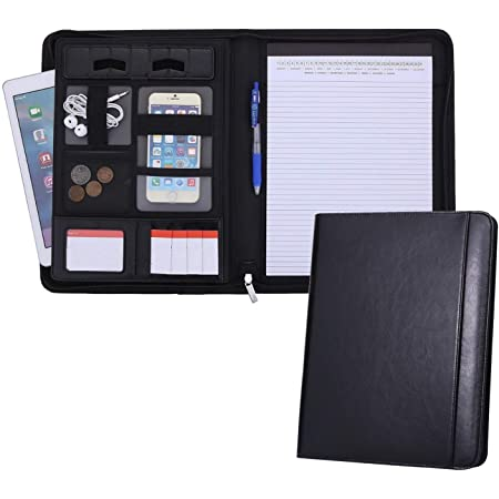 Zipped Conference Folder Mymazn A4 Padfolio PU Leather Document Holder Portfolio