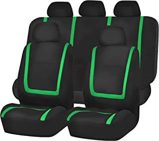 FH Group FB032115 Unique Flat Cloth Seat Covers, Green/Black Color- Fit Most Car, Truck, SUV, or Van