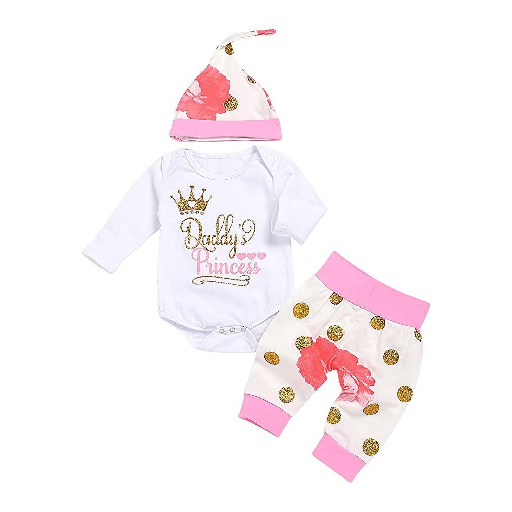 AlwaysFun Newborn Baby Girls Daddy's Princess Crown Bodysuit Tops Floral Dot Pants Hat Outfits Set