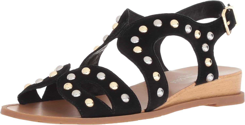 Kenneth Cole New York Womens Jules Stud Low Wedge Sandal Backstrap Flat Sandal