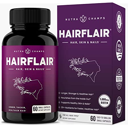 HairFlair - Hair Growth Vitamins with Biotin for Longer, Stronger, Healthier Hair - Hair, Skin and Nails Supplement - For All Hair Types - Premium Formula with Keratin, Collagen, Bamboo, Aloe & More!