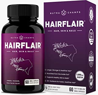 HairFlair - Hair Growth Vitamins with Biotin for Longer, Stronger, Healthier Hair - Hair, Skin and Nails Supplement - for ...