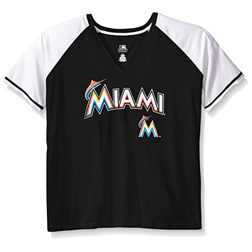 aa1672151 MLB Miami Marlins Women s Short Sleeve Raglan Deep V-Neck T-Shirt