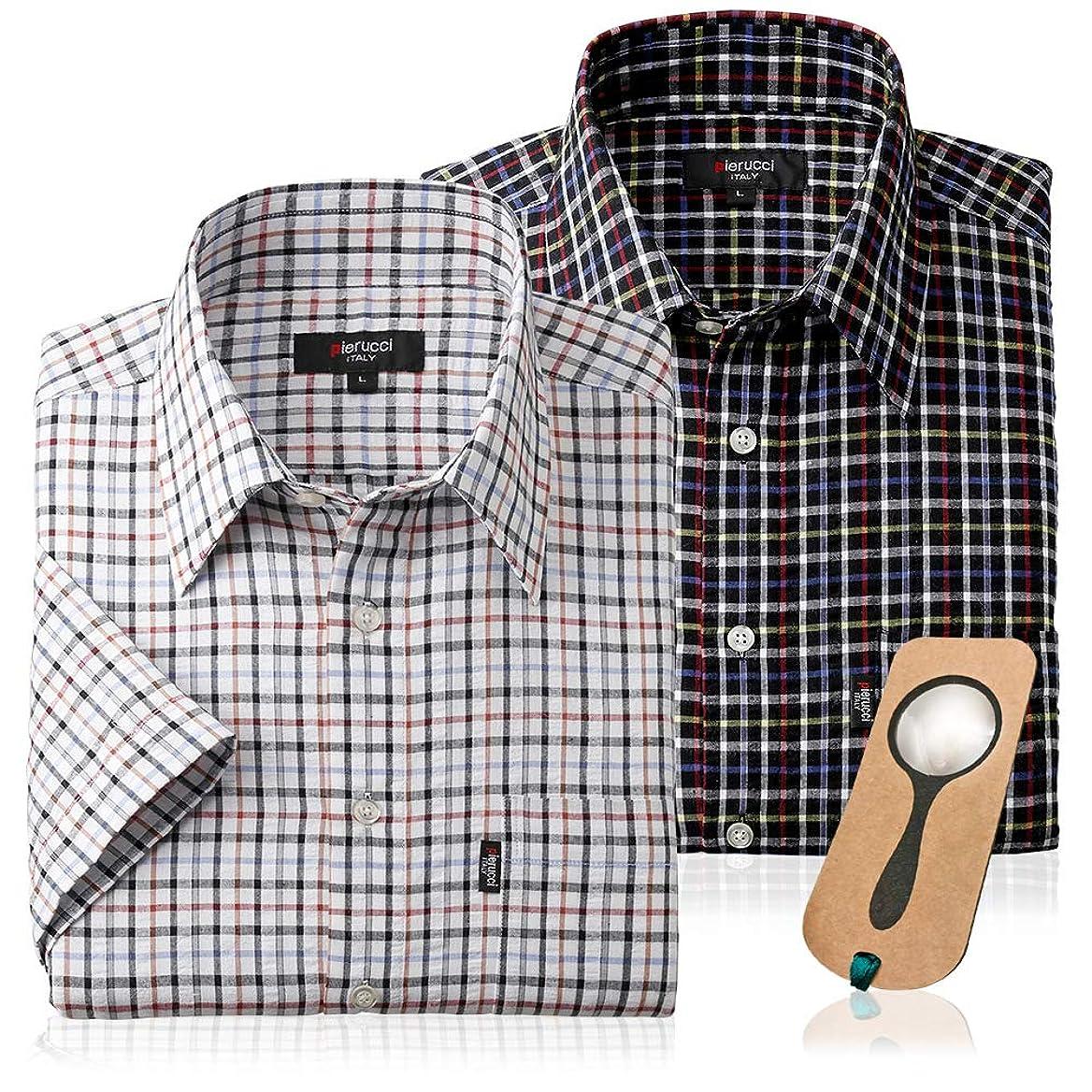 疎外するグレードマーキーサラッと涼しい格子柄サッカー生地 カジュアルシャツ2枚組(春夏用 メンズ シャツ 半袖 カジュアル)しおり型ルーペ付