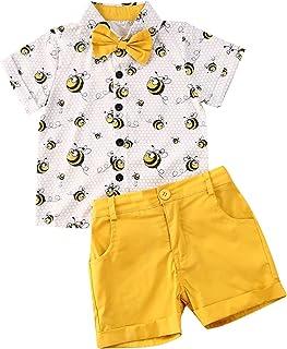 تي شيرت أطفالي أطفال أطفال الرضع ملابس للأولاد بأكمام قصيرة مع ربطة عنق بأزرار للأسفل + مجموعة ملابس قصيرة سادة (3-4T، أصف...