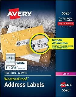Avery WeatherProof Address Labels with TrueBlock Technology for Laser Printers 1