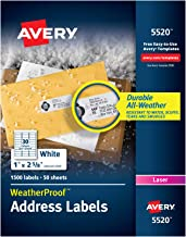 Avery WeatherProof Address Labels with TrueBlock Technology for Laser Printers 1