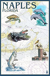 Naples, Florida - Nautical Chart (36x54 Giclee Gallery Print, Wall Decor Travel Poster)