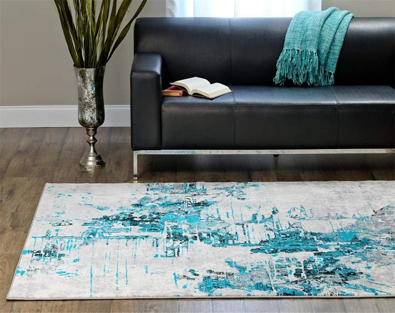 Austin Mall Luxe Weavers Abstract Max 78% OFF Turquoise 5x7 Area Rug