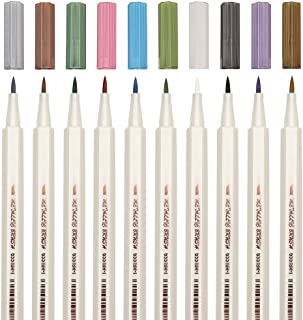 Metallic Calligraphy Brush Marker Pens, Set of 10 Colors, Use For Rock Painting, Glass, Mug Design, Card Making, Metal, Wood, Works on Most Surfaces, DIY Photo Album (Brush Tip)