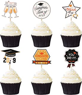 48PCS 2019 Graduation Cupcake Toppers Grad Cake Toppers For Class of 2019 Congrats Grads Party Supplies