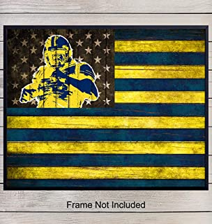 Michigan Football Wall Art Print - Go Blue Patriotic Flag Poster - Gift for Men, U of M, Wolverines, NCAA, College Sports, NFL Fans - Home Decor for Dorm Room, Office, Shabby Chic 8x10 Photo Unframed