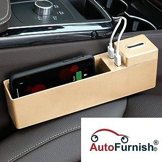 Autofurnish Car Wireless Charging Console Side Pocket Organizer - Auto Seat Gap Filler Storage Box-Beige