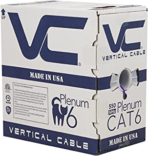 Vertical Cable CAT6, 550 MHz, UTP, 23AWG, 8C Solid Bare Copper, Plenum, 1000ft, Purple, Bulk Ethernet Cable - Made in USA