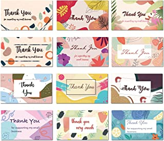 Avamie 240 Pack Thank You For Supporting My Small Business Cards, 3.5x2 inch Small Business Thank You Cards, 12 Modern Abs...