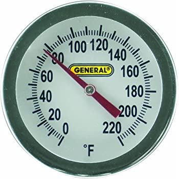 General Tools PT2020G-220 Analog Soil and Composting Dial Thermometer, Long Stem 20 Inch Probe, 0 to 220 degrees Fahrenheit (-18 to 104 degrees Celsius) Range