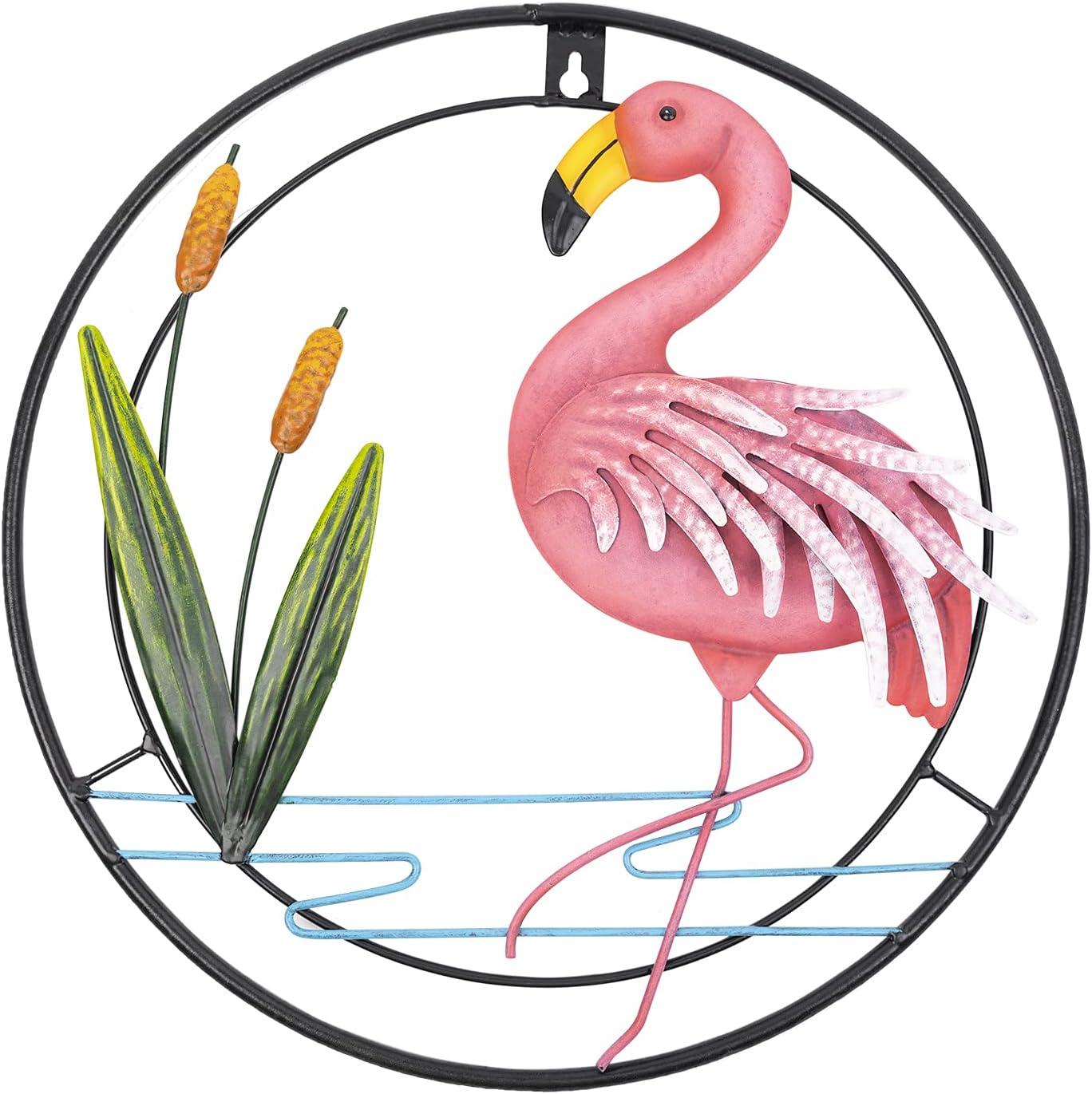 Metal Flamingo Wall Art, Porch Front Door Wall Decor,Room,Outdoor,Club,Bars,Front Door ,Metal Hanging Wall Art Décor