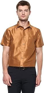 KhodayWilliams Men's Poly Silk Fabric Half Sleeves Casual Shirt and Festivals, Regular Fit